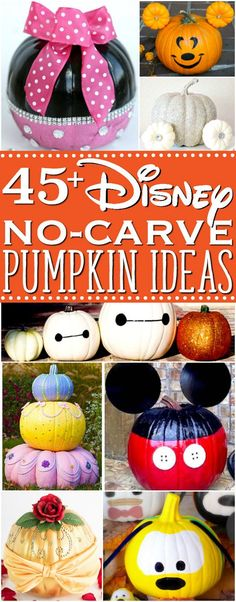 Over 45 Disney painted pumpkins. Make these no-carve Disney pumpkin ideas to wow your neighbors with your decorating skills. An easy and fun DIY fall craft decoration.