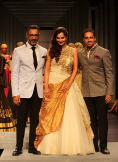 Sania Mirza with designers Shantanu and Nikhil