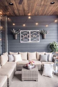 back patio decor Back Patio, Backyard Patio, Back Porches, Screened Porches, Small Patio, Cozy Patio, Back Yard Ideas For Small Yards, Small Sunroom, Farmhouse Front Porches