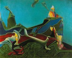 Landscape with Wheatgerm Artist: Max Ernst Completion Date: 1936 Place of Creation: Paris, France Style: Surrealism Period: First French period Genre: landscape Technique: oil Material: canvas Dimensions: 150.5 x 162.5 cm