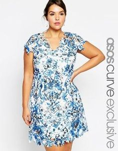ASOS CURVE Premium Shift Dress In Floral Printed Lace