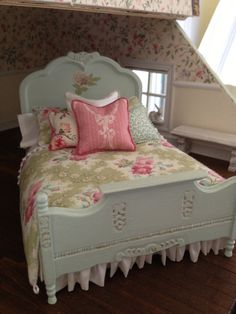 Pale bluish green painted bed with cabbage rose by ECHminiatures