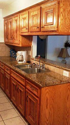 Golden Oak Cabinets Granite Countertops | granite counters and custom oak cabinets were built with precision and ...