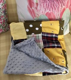 Beautiful cotton patchwork blanket with grey minky dot fabric for backing Checkered squares Yellow bumblebee squares Green poker dot squares Plain yellow squares Baby Patchwork Quilt, Preparing For Baby, Reborn Babies, Kids Decor, Diaper Bag, Quilts, Tote Bag, Crotchet, Bedding