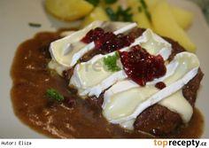 Hovězí plátky s taveným Hermelínem v brusinkové omáčce Mashed Potatoes, Pudding, Sweets, Cheese, Ethnic Recipes, Party, Diet, Roast Beef, Whipped Potatoes