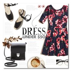 """""""Dress Under 50$ ~ Florals and Black"""" by alexandrazeres ❤ liked on Polyvore featuring Hollister Co., Soludos, The Cambridge Satchel Company, Chanel, floraldress, womensFashion and Dressunder50"""