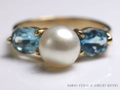 see more on our website: www.hawaiijewelrybuyers.com and follow our ebay auctions www.ebay.com/usr/jewelrybuyershawaii #VINTAGE 14K YELLOW GOLD SOLID #PEARL & OVAL FACETED BLUE #TOPAZ RING (SZ 6)