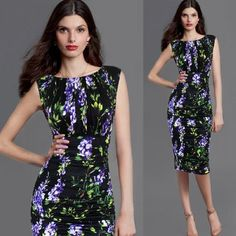 Vfemage Womens Elegant Summer Ruched Draped Floral Flower Printed Tunic Casual Party Bodycon Fitted Sheath Pencil Dress 2969