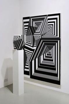 Tobias rehberger shapes art optique, art de l'illusion et ar Illusion Kunst, Illusion Art, Op Art, Tobias Rehberger, Wall Design, Design Art, Art Graphique, Art Mural, White Art
