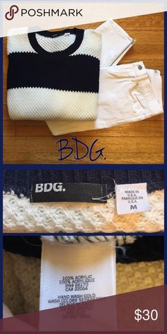 "BDG Sweater A beautiful navy blue and white striped knit sweater by BDG. Size medium in like new condition! 28"" from shoulder to bottom hem laying flat. •I'm open to offers on all items!• BDG Sweaters Crew & Scoop Necks"