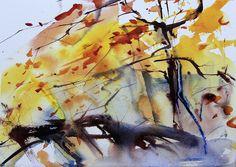 Autumn trees watercolour by Adrian Homersham