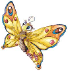 Yellow Butterfly Cross Stitch Pattern, Instant Download PDF