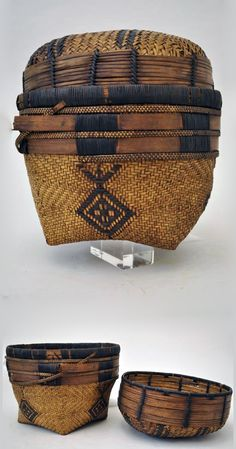 African lidded basket from the Luba or Tempa people of Kasai District, D. of Congo - natural fiber Contemporary Baskets, Bountiful Baskets, Japanese Bamboo, Basket Weaving, Woven Baskets, Bamboo Basket, Art Africain, Africa Art, Weaving Art