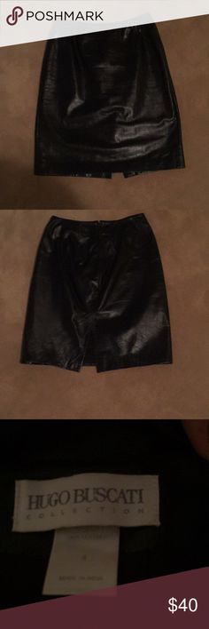 Black leather skirt 21 inches long, 13 inches waist, lined Skirts Mini