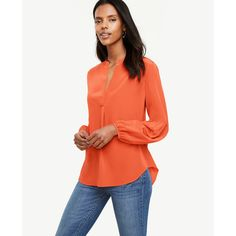 Ann Taylor Lantern Sleeve Silk Blouse ($98) ❤ liked on Polyvore featuring tops, blouses, coral blaze, long silk blouse, white tops, v neck blouse, long white blouse and ruched blouse