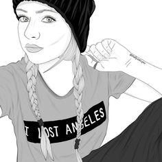 art, beanie, braids, outline, outlines, tumblr, tumblr girl