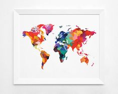 Geometric World Map Art Print Instant Download  by DecorartDesign