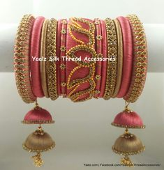 Price For Orders, Whatsapp to 8754032250 We Ship to All Countries Silk Thread Earrings Designs, Silk Thread Bangles Design, Silk Bangles, Beaded Necklace Patterns, Bridal Bangles, Thread Jewellery, Jewelry Patterns, Bridal Jewelry, Indian Wedding Jewelry
