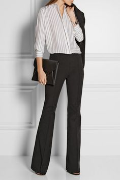 Michael Kors Collection | Stretch-cotton and modal-blend flared pants | NET-A-PORTER.COM