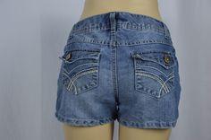 SO Womens 9 Dark Wash Blue Jean Shorts Flap Thick Stitch Pockets Short Summer #SO #CasualShorts