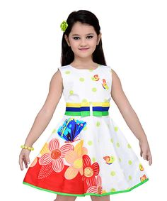 Look at this Lime Green & Red Floral Sleeveless Dress - Toddler & Girls on #zulily today!