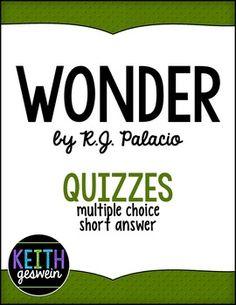 $3.00    22 comprehension quizzes for Wonder by RJ Palacio