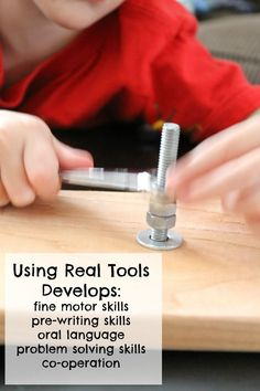 This simple to make activity is perfect for little builders and fix-its!  Using tools is so full of learning and wonderful for toddlers and preschoolers development!