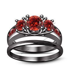 Three Stone Trellis Prong Channel Set 1.99CT Red Garnet Bridal Ring Set 5 6 7