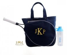 Tennis Bags - Monogrammed Tennis Bag - Canvas Navy Racquet Bag - Tennis  tote - Tennis Team 25a3f5a10e626