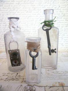 Three Vintage Apothecary Bottles Skeleton Keys & by tuscanroad, $24.00