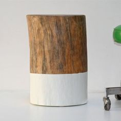 chunky wooden side table log painted - Google Search