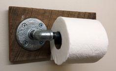 Toilet paper holder Rustic barn wood industrial pipe bathroom decor handmade farmhouse primitive antique vintage barnwood christmas gift