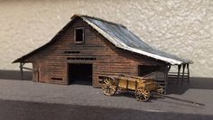 Old N scale Barn and Wagon getting ready for Railroad Layout Old Western Towns, N Scale, Model Train Layouts, Model Trains, Wild West, Fairies, Organize, Barn, Coffee