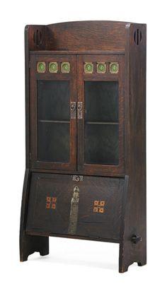 "SHOP OF THE CRAFTERS, Small bookcase, Cincinnati, OH, ca. 1908, Paper label, 57 1/2"" x 31"" x 12""  |  Rago Auction 6-4-2016, Estimate: $1,500 - $2,000"