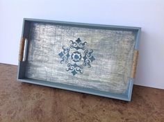 Wood tray  blue and silver painted by YouMatterDesigns on Etsy, $25.00