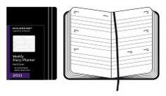 Pocket-sized Moleskine weekly planner in black.