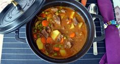 Traditional and easy braised beef recipe from Spain, a yummy stew with lean cuts of beef, vegetables and potatoes