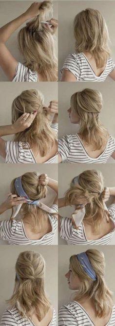 Idées coiffure pour mettre un foulard en bandeau cheveux et se coiffer avec un foulard en soie autour de sa tête, bien attacher, faire tenir si il glisse.