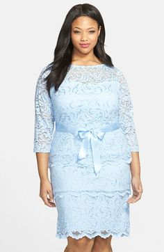 Marina Tiered Stretch Lace Sheath Dress (Plus Size) available at #Nordstrom. Blue, Blush, Ivory, Silver