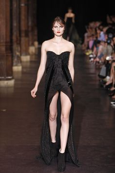 Strapless black couture dress