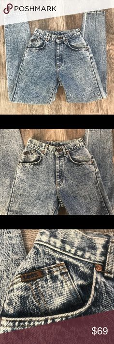 """Vintage Lee Acid Wash Jeans, size 3. This is an awesome pair of original vintage Lee jeans, great acid wash, the typical 80's high waisted and tapered leg style, they're in excellent condition, little to no signs of wear. These are approximate flat measurements: waist 13"""", hip 18"""", inseam 29.5"""". 100% cotton. Lee Jeans"""