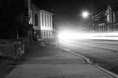 After midnight in a coal town . #nightphotography #blackandwhite #pennsylvania #church #dark