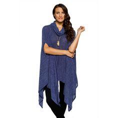 d2ccf83d59c90 Xehar Womens Stylish Cowl Neck Long Body Asymmetrical Poncho Sweater Poncho  Sweater