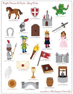 CreKid.com - FREE Story Rocks Printouts - Knight Story Rocks - Spark your child's imagination and creativity. Preschool - Pre K - Kindergarten - 1st Grade - 2nd Grade - 3rd Grade. www.crekid.com
