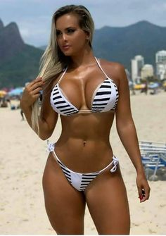 Check out these 24 sexy styles and find a bikini or best swimwear one-piece that will make you feel like the beach goddess you truly are. Hot Bikini, Bikini Girls, Bikini Swimwear, Bathing Suits Hot, Femmes Les Plus Sexy, Belle Lingerie, Striped Bikini, Girls Fit, Sexy Women