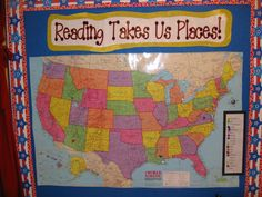 Students place a pin (in their unique color) on the map wherever the setting in a book they read is. - Cute idea!  World map would work too