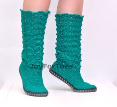 Crochet Shoes Crochet Lace Boots Emerald Green Made to Order Cotton