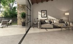 Home Living Room, Living Room Furniture, Travertine Floors, Decoration, Couch, Patio, Flooring, Rustic, Outdoor Decor