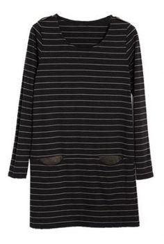 Black Grey Striped Long Sleeve Pocket Suede Dress