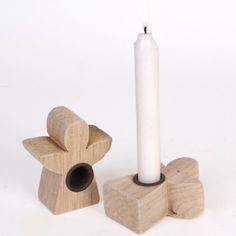 Angel shaped driftwood taper candle holder